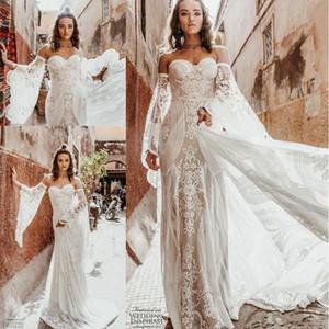 Sexy Wild Heart Bohème gaine robes de mariée à manches longues Rue De Seine Vintage Crochet dentelle Applique Pays robe de mariée Robe de mariée