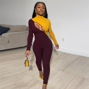 Patchwork Zipper pagliaccetti Fitness Womens tuta casuale di allenamento sportivo attivo Fashion Wear Long Sleeve Skinny tute