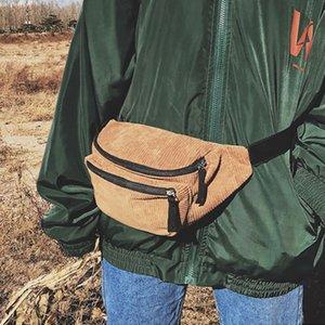 Corduroy Waist Bags Zipper Chest Bags Sport Travel Pack Waist Belt Bags Fashion Phone Pack for Men Women