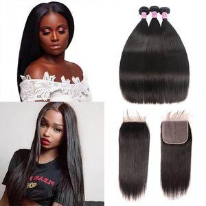 100% human hair bundles with closure 7x7 peruvian straight hair weave 3 bundles natural black remy hair extensions