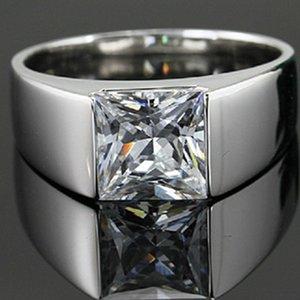 Оптовые ювелирные изделия кольца 2CT Nscd Синтетический Carbon Solitaire Принцесса кольцо Человек серебро Обручальное принцесса ювелирных изделий 925