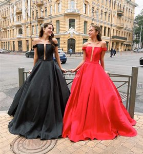 Simple Off The Shoulder Ball Gown Prom Dresses Long Zipper Back Sleeveless Graduation Evening Party Gowns Cheap Sweep Train Customized