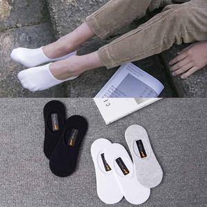 Color sólido Mens verano calcetín blanco negro gris tobillo deportes calcetines atléticos