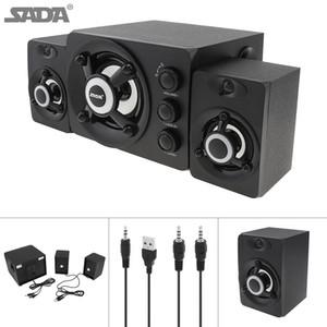 SADA D-208 Işıklı Çok Renkli Lamba SSB_10M ile 2.1 Mini Siyah 3W Ahşap 3D Surround Ses Subwoofer Müzik USB Bilgisayar Hoparlör