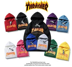 2020 HOT Spring and Autumn Clothes Thrasher Flame Men and Women Hooded Sweater Couple Fashion Sports Explosion Models Free Shi 5W22