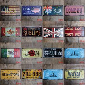 Peinture Boîte métal USA Grande-Bretagne Canada Pays Ville plaque d'immatriculation Peinture Vintage Wall Art Rétro Peinture Métal Bar Pub Home Decor