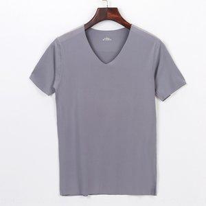 Casual cut traceless men's underwear modal short-sleeved T- Underpants T- shirt slim V-neck tight solid color base shirt