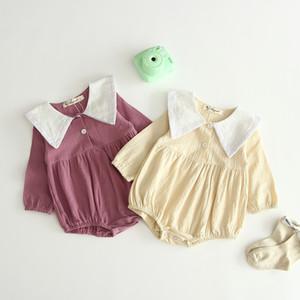 детская Детская одежда Ползунки Army Стиль Turn Down Воротник с длинным рукавом сплошной цвет печати Romper Одежда 100% хлопка девушки мальчика комбинезон 0-2T