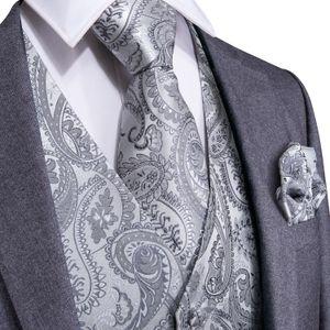 Fast Shipping Men's Classic Sliver Paisley Silk Jacquard Waistcoat Vest Handkerchief Cufflinks Party Wedding Tie Vest Suit Set MJ-0103