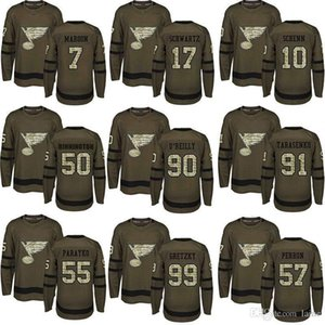 St. Louis Blues 2019 Campeões de Stanley Cup 90 Ryan O Reilly 50 Binnington 17 Schwartz Authentic Verde Salute to Serviços camisola do hóquei