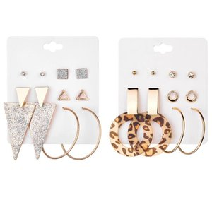 Wholesale-10 Pairs   Set Classic Exaggerated Gold Suit Geometric triangular With Diamond Leopard Earrings