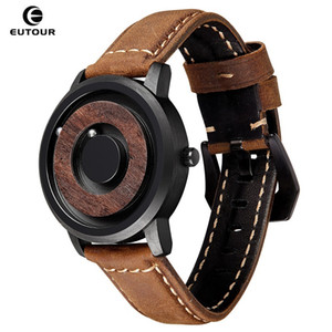 EUTOUR Einfache Unisex Magnetic Drive Uhr Männer Frauen Neuheit Holz Zifferblatt Edelstahl Lederarmband Armbanduhren 2019