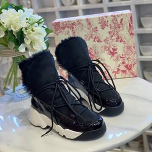 Париж Модельер Шерсть Вся-в-одном Snow Boots Утолщенной кожи высокого класс Теплых женщины вскользь вождения обуви