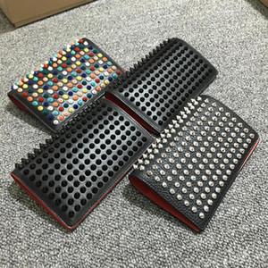 Portafoglio uomo mens rivetto passaporto bordo rosso libero di trasporto portafoglio in pelle nera stilista portafogli di moda unisex pack card portefeuille