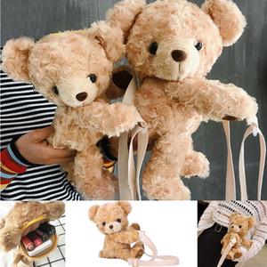 Purse Faux Fur testa dell'orso Cute Cartoon Female borsa Fluffy Teddy Shoulder Bag