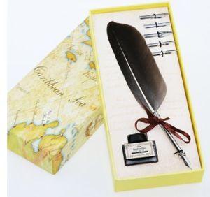 Toptan-Mükemmel Antik Quill Tüy Dip Kalem Yazma Mürekkep Seti Kırtasiye Hediye Kutusu Ile 5 Nib Düğün Hediye Quill Kalem Dolma Kalem