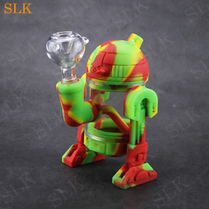Moderno Robot Design Glass Water Bong 14mm Cuenco de vidrio Mini Bongs Silicone Protection Protectcase Vidrio Burbujero Fumar Tubos Fumadores Siliclab Embalaje