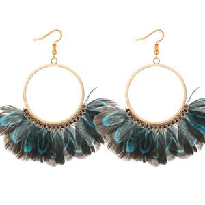 Hot Fashion Jewelry Women's Vintage Exaggerated Circle Peacock Feather Nappe Ciondola gli orecchini S384
