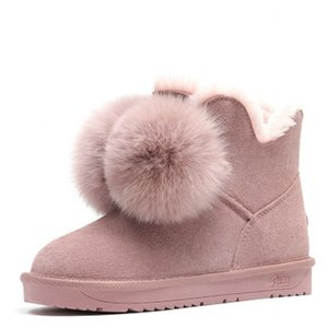 High-quality Fashion Women Snow Boots Genuine Cowhide Leather Boots Warm Winter Boots Fox pom-pom style ankle winter shoes Pink