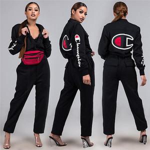 Campeones de mujer de marca Otoño Invierno Ropa Casual Traje juego que activa Set de 2 unidades de la chaqueta de chándal polainas camisas de vestir exteriores de deporte 1245