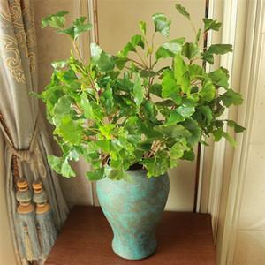 """Поддельный длиные Гинкго Билоба (3 стеблей / шт) 31.5"""" Длина Моделирование Ginkgo Leaf для венчания Главная Декоративные искусственные растения"""