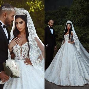 2020 Árabe A linha de vestidos de casamento Sheer Straps Illusion corpete apliques Sexy Backless nupcial Dresses Catedral Trem