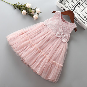 3-7 anni Vestito da ragazza di alta qualità 2019 nuova moda estiva fiocco fiore bambino bambini ragazza abbigliamento festa formale abito da principessa