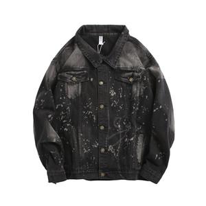 High Street quebrado mágicos Tie Dye Jeans Jacket Men Hip Hop Brasão Buraco Harajuku Retro Denim Jackets Chaquetas Hombre Windbreaker