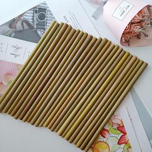 Reutilizables de bambú Pajita Orgánica de bambú partido pajitas de beber Para pajuelas de madera natural de cumpleaños de la boda Barra de herramientas bebidas DBC BH3696