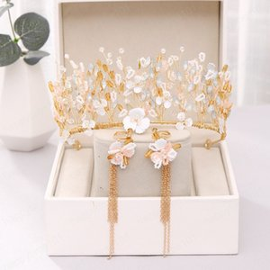 Vintage a mano imitazione Pearl Crystal Crown con i monili Orecchini Set Wedding Accessori per capelli nuziale Headpeice Set gioielli