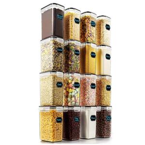 Герметичные контейнеры для хранения продуктов питания - Wildone Cereal Сухой корм Контейнер для хранения Набор из 16 [54oz /1.6L] для сахара, муки и выпечки Поставки,