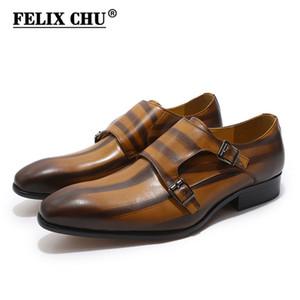 FELIX CHU Mens Hakiki Deri Klasik Oxford Elbise Ayakkabı Çift Keşiş Askısı Toka Düz Ayak Adam Düğün Ayakkabı Çizgili Desen