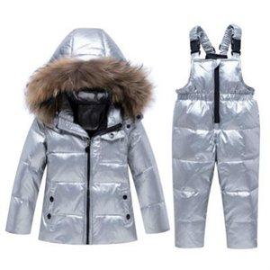 Childrens lusso Giacca Down Imposta bambini Marca Imposta Ragazzi Spesso Zipper Bright insieme Face Down Jacket Top + i pantaloni della Set di abbigliamento all'ingrosso