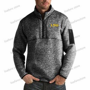 LSU نمور البلوز بلوزات الرجال ثروة كبيرة طويل القامة ربع البريدي البلوز سترات مخيط كلية لكرة القدم الرياضة هوديس