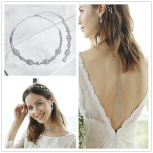 Collar largo de las mujeres del cuerpo de cadena atractivo trasero pelado de oro cristal de plata del Rhinestone colgante collar de cadena de joyería Telón de fondo del cuerpo de novia