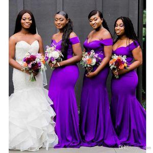 Sexy Purple 2019 Новая мода Русалка Платья для подружек невесты с плеча Формальное свадебное платье для гостей Простые одеяния de demoiselle d'honneur