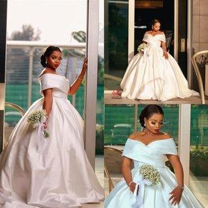 Элегантный Плюс Размер Свадебные платья бальные Sweep Поезд Sexy White Satin Plus Размер Саудовский с плеча Свадебные Платья