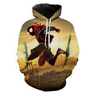 Mans 3D Hoodies d'impression colorée manches longues Pull avec poches Adolescent Homme Vêtements Marvel Super Protagoniste