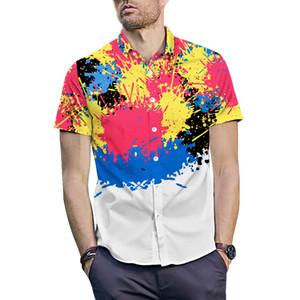 ONSEME Mais Novo Padrão de Pintura Graffiti Impresso 3D Camisas Hipster Streetwear Tees Masculino Camisa Havaiana Hip Hop Tops Navio da gota