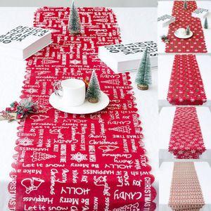 Mantel de Navidad Decoración Hogar Tabla de lino Rose Cutwork restaurante Cubierta de mesa Limpiar Partido Mantel Covers170cmx35cm