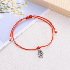 20pcs Summer Boho Beach Conch Shell Red Bracelet Women Children Lucky Red Thread Bracelets Colorful Rope Couple Jewelry Wholesale