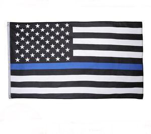 3 Tipos 90 * 150 cm BlueLine EUA Polícia Bandeiras 3x5 Pé Fino Linha Azul EUA Bandeira Preto, branco E Azul Da Bandeira Americana Com Bronze Ilhós SN2280