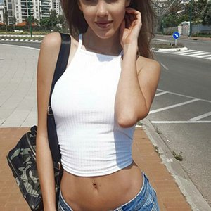 Womens Sleeveless Camis Casual Solid Skinny Crop Tops Backless Vest Halter Tank Tops Short Blouse T Shirt Womens Basic Clothing