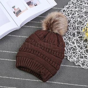 Kids PomPom Beanies Baby Knitted Winter Warm Hats Thick Stretchy Knit Beanie Cap Bobble Girls Beanie Hats OOA3899-6