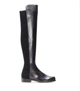 باريس كلاسيك 5050 مطاطا أحذية كعب 2.5CM المرأة جلدية الخريف والشتاء الجديدة أحذية سليم مع الساقين سليم السامية طويلة أحذية بنات