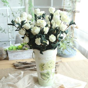 Las flores de seda falso Artificia Philip Rose flores rosa ramo de novia florece la flor decorativa para matrimonio 5Colors WZW-YW3681