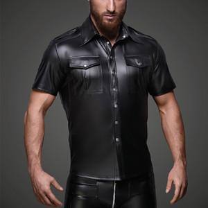 Homens Sexy Wetlook t-shirt macio do falso macacão de couro Gay Latex Uniform shirt Tops Clubwear fetish lingerie Punk bodysuit Shirts