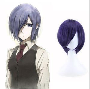 Anime de Tokio Ghoul Touka Kirishima Kirishima peluca Toka corto azul púrpura del fiesta de Halloween del pelo de Cosplay de las pelucas