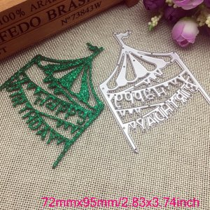 Happy Birthday Tent Cutting Dies Metal Stencil DIY Scrapbook Album Paper Card Embossing Crafts Die Cut Decor