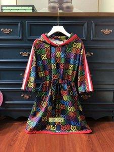 femmes haut de gamme filles épissures d'impression psychédélique occasionnel robe chemise à capuche rayé jupe cordon de serrage avec ceinture 2020 mode robe design de luxe